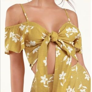 Yellow Floral Tie-Front Crop Top